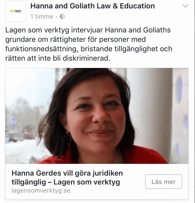 Hanna and Goliath intervjuas av Lagen som verktyg